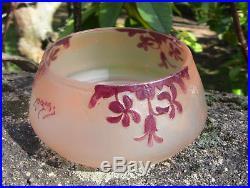 Superbe bonbonnière en verre gravé émaillé rubis Art Nouveau par Legras no Gallé