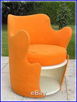 Superbe fauteuil Orange Forme Libre Vintage An 70's
