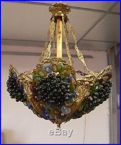 Suspension lustre murano verre corbeille bronze, Chandelier murano pendant