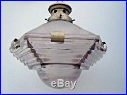Suspension verre plafonnier lustre césar no Holophane suspension indus vers 1950
