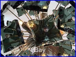Suspensions Boule Verre Lustre Vintage 1950 Etoile Laiton Or Spoutnik 1960 S22