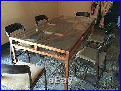 TABLE DE REPAS EN BOIS ET VERRE DESIGN MODERNISTE roche bobois S22