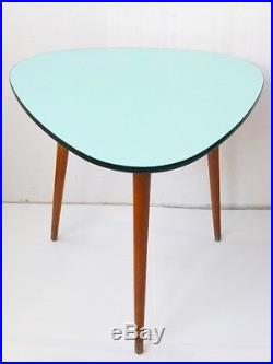 TABLE HAUTE TRIPODE PLATEAU FORMICA VERT PALE/ TURQUOISE 1950 VINTAGE DESIGN n°1