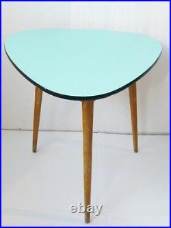 TABLE HAUTE TRIPODE PLATEAU FORMICA VERT PALE/ TURQUOISE 1950 VINTAGE DESIGN n°2