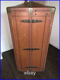 TRANSATLANTIQUE Ancienne Malle Cabine Armoire Bateau Bombée