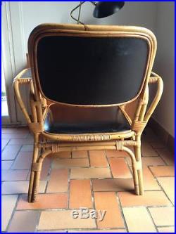 Tres Rare Fauteuil Rotin Skai Design Typique Deco Annees 50 60 Vintage
