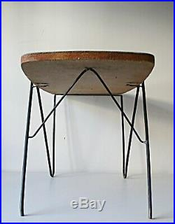Table Basse Pied Metal Bois Formica Design 1950 Vintage Atelier Années 50 60