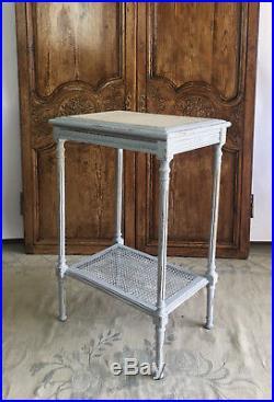 Table Console Ancienne En Bois Patiné Avec Dessus Marbre Blanc Style Louis XVI