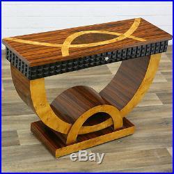 Table Console Style Art Deco En Marqueterie De Palissandre Loupe D'orme