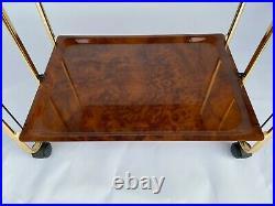 Table Pliante Roulante 1970 Metal Dore 2 Plateaux Design L644