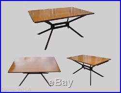 Table T 129 A Pietement En Metal Laque, Plateau+ 2 Allonges Plaque Palissandre, E