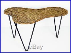 Table basse Raoul GUYS en rotin, 1950 dlg Royère Matégot Hitier Guariche