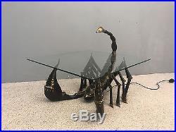 Table basse dlg de Jacques DUVAL BRASSEUR en bronze et verre 1960