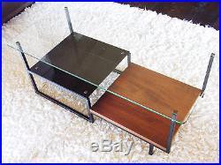 Table basse en métal bois verre vintage années 50 60 design 1950 Alain Richard