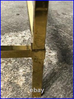 Table basse rectangulaire métal doré, plateau verre Roche Bobois vintage 70'S