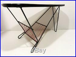 Table basse tripode vintage formica Jaune design années 50's 60's