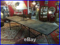 Table d'atelier en fer et vieux bois
