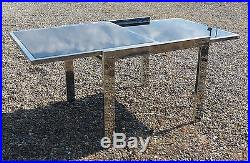 Table extensible verre et métal chromé 1970 design Vintage