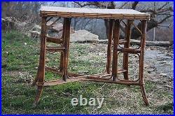 Table rotin bambou perret & vibert, paris art nouveau estampillé 1890 19èm
