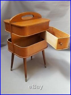 Travailleuse Scandinave En Teck 1960 Vintage Meuble Retro