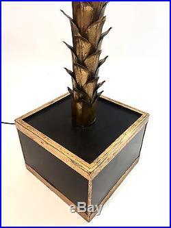 Tres Beau Lampadaire En Forme De Palmier Sculptural En Metal Dore Des Annees 70