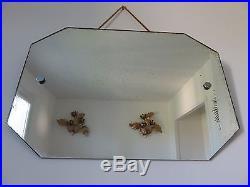 Tres Grand Ancien Miroir Octogonal Salle De Bain Avec Corde Annees 60 Vintage