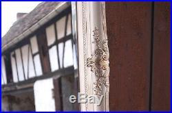 Très Grand Miroir 204x114cm En Bois Blanc Et Doré Glace Pour Palais D'un Chteau