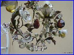 Tres Joli Lustre Milieu XX Orne De Fleurs Porcelaine Et Pampilles 3 Lumieres