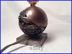 Tres Rare! Edgar Brandt Lampe Boule De Gui En Bronze