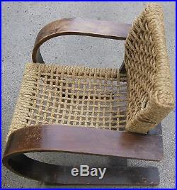 Très beau fauteuil vintage Audoux & Minet pour Vibo Vesoul en cordage années 50