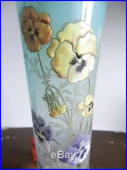 Vase Verre Epais Fleurs Pensees Emaillage La Martine Legras Montjoye Art Nouveau