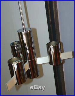 VINTAGE LUSTRE CHROME 4 FEUX-TUYAU-TUBE-Gaetano SCIOLARI-LAMPE DESIGN 1960 70