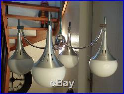 VINTAGE LUSTRE MéTAL 4 FEUX Gaetano SCIOLARI LAMPE DESIGN 1960 70 SPACE AGE