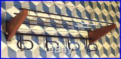 VINTAGE PORTEMANTEAU-étagère SCANDINAVE TECK LAITON ACIER DESIGN 50 60