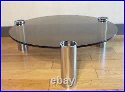 VINTAGE TABLE BASSE TRIPODE-VERRE FUMé-MéTAL CHROMé-DESIGN 70-Space Age-Ø85cm