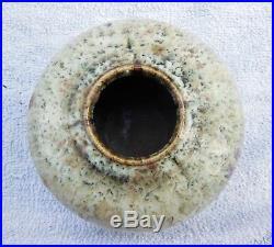 Vase Boule En Ceramique A Decor Abstrait Artiste A Identifier Monogrammé