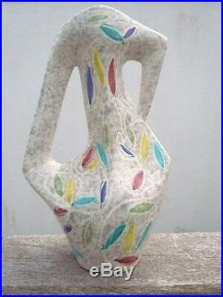 Vase ceramique decor stylisé Borty Vallauris année 50