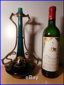 Vase soliflore faience ceramique monture bronze doré art nouveau 1900