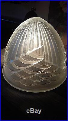 Vasque dôme obus pour lustre ou lampe champignon art déco signé Schneider
