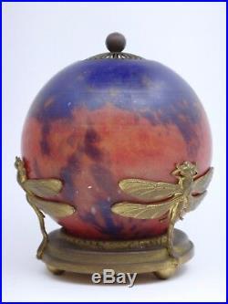 Veilleuse en Pâte de Verre nuage monture à Décor de Libélules ART NOUVEAU 1900