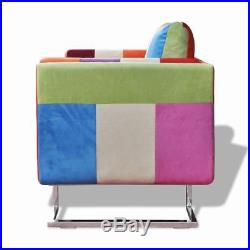 VidaXL Fauteuil patchwork avec pieds chromées cabriolet coussin patchwork