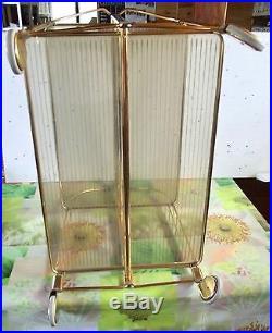 Vintage Métal Doré Bar Cocktail Orangeade chariot de thé Desserte Antique 1970