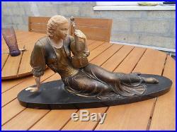 Vintage Statue femme au violon Chryséléphantine art nouveau deco sur marbre