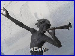 Vintage Statue regule marbre art deco berger musicien et cabris signé CARLIER