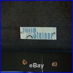 Vintage-chaise Tonneau Guariche Steiner-bois Noir-skaï Jaune-design 50 60