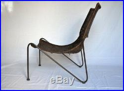WEINBERG Fauteuil Chauffeuse Métal & Rotin Lounge Easy Chair Vintage Design 1950
